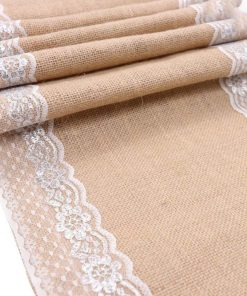 Jute Canvas and Lace Table Runner for Weddings